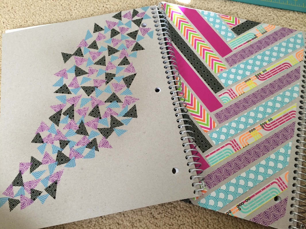 Diy washi tape notebooks back to school ellie taylor for Back to school notebook decoration ideas